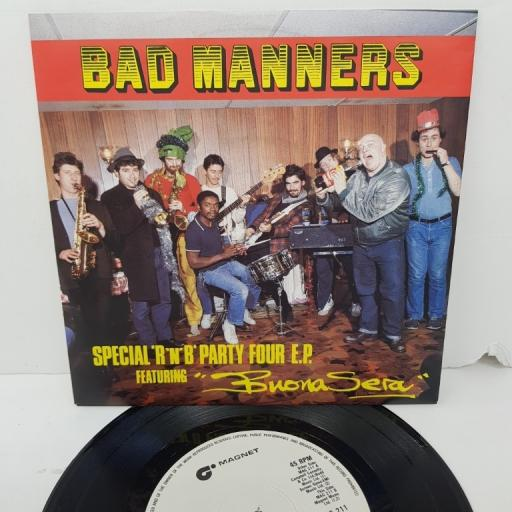 """BAD MANNERS, special 'r 'n' b' party four e.p. featuring buona sera, MAG 211, 7"""" EP"""