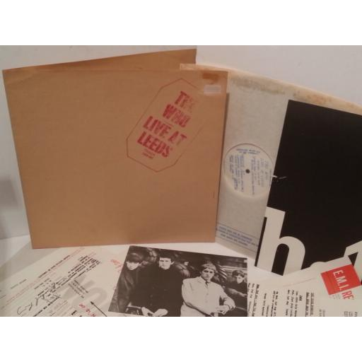 THE WHO live at leeds, red stamp on sleeve, gatefold, complete with inserts, 2406 001