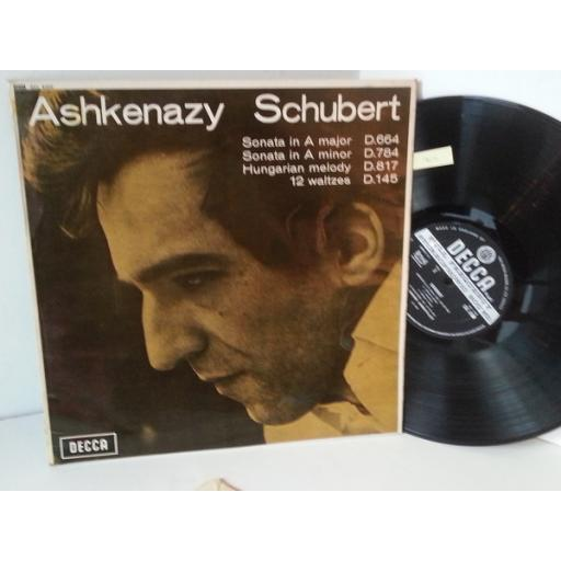 ASHKENAZY, SCHUBERT piano works, sonata in A major, sonata in A minor, hungarian melody, 12 waltzes, SXL 6260
