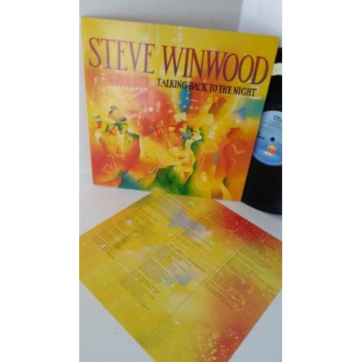 STEVE WINWOOD talking back to the night, ILPS 9777, lyric insert