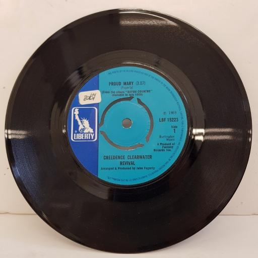 "CREEDENCE CLEARWATER REVIVAL, proud mary, B side I put a spell on you, LBF 15223, 7"" single"