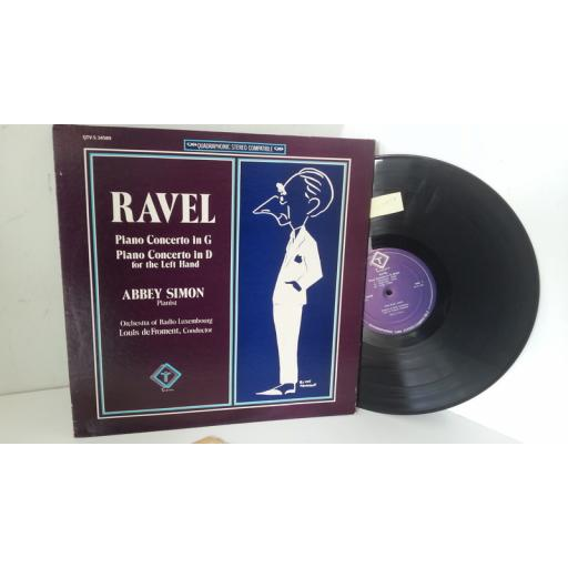 RAVEL, ABBEY SIMON, ORCHESTRA OF RADIO LUXEMBOURG, LOIUS DE FROMENT piano concerto in g / piano concerto in d for the left hand, QTV-S 34589