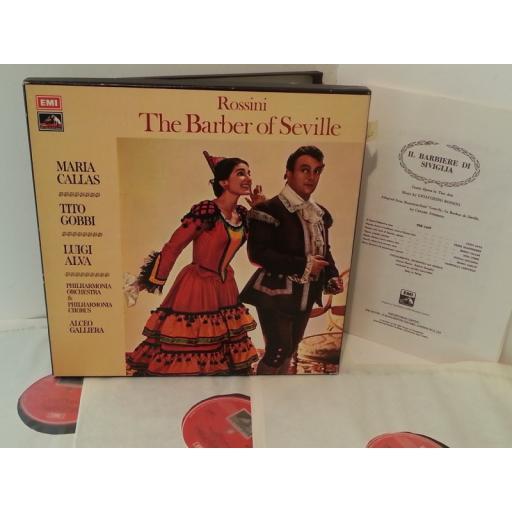 ROSSINI, MARIA CALLAS, TITO GOBBI, LUIGI ALVA, PHILHARMONIA ORCHESTRA AND PHILHARMONIA CHORUS, ALCEO GALLERIA the barber of seville, SLS 853, 3 record box set, libretto.