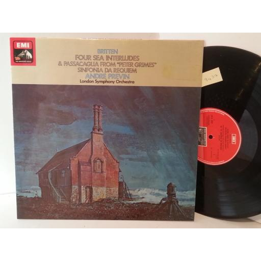 "BRITTEN, LONDON SYMPHONY ORCHESTRA, ANDRE PREVIN four sea interludes from ""peter grimes"" / sinfonia da requiem, QUADRAPHONIC ASD 3154"