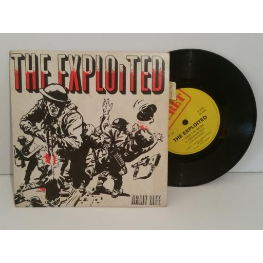 SOLD : THE EXPLOITED army life, fuck, the mods, crashed out. 7 inch picture sleeve. shh112