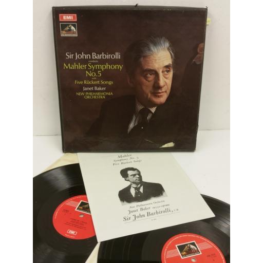 MAHLER, JANET BAKER, JOHN BARBIROLLI, NEW PHILHARMONIA ORCHESTRA symphony no. 5, booklet, 2 x lp, boxset, SLS 785