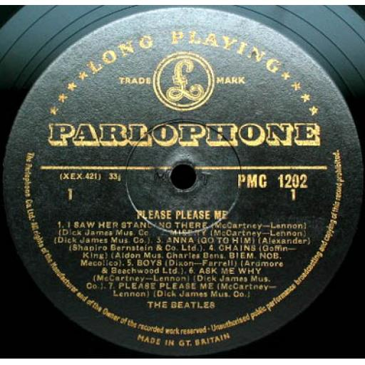 "THE BEATLES PLEASE PLEASE ME. 12"" VINYL LP. PMC1202. BLACK and GOLD PARLOPHONE LABEL."
