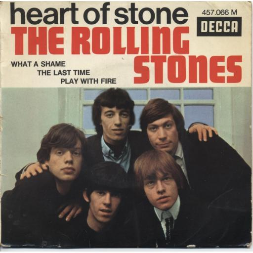 "THE ROLLING STONES, heart of stone + what a shame, B side the last time + play with fire, 457 066, 7"" EP, mono"