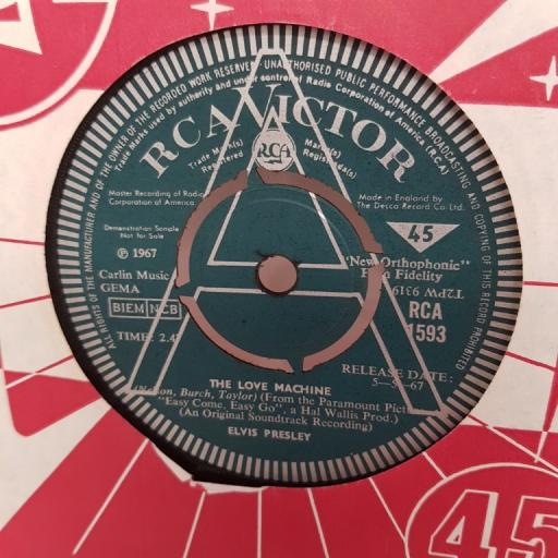 "ELVIS PRESLEY, you gotta stop, B side the love machine, RCA 1593, 7"" single"