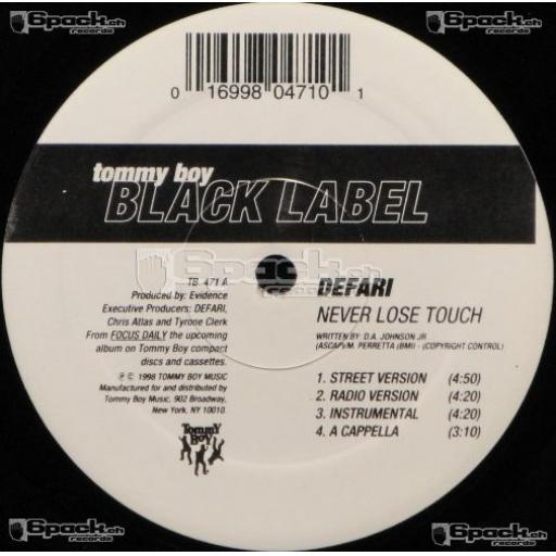 DEFARI never lose touch/ people's choice, 12 inch single, TB 471