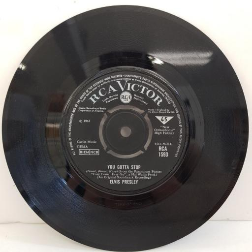 "ELVIS PRESLEY, you gotta stop, B side the love machine, RCA 1593, 7"" single"