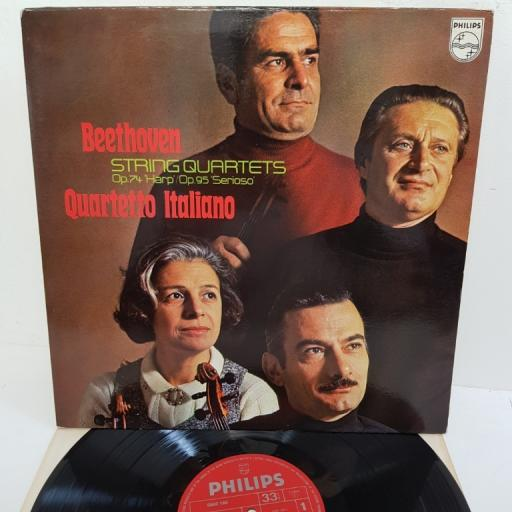 "Beethoven, Quartetto Italiano ‎– String Quartets Op. 74 'Harp' / Op. 95 'Serioso', 6500 180, 12"" LP"