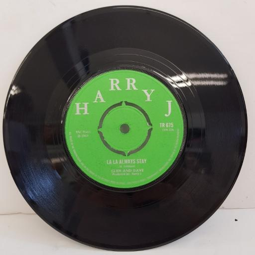 "HARRY J. ALL STARS, / GLEN AND DAVE, liquidator, B side la la always stay, TR 675, 7"" single"
