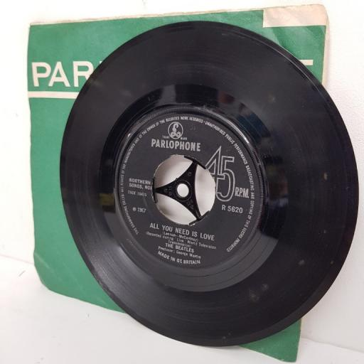 "THE BEATLES, all you need is love, B side baby, you're a rich man, 7"" single"