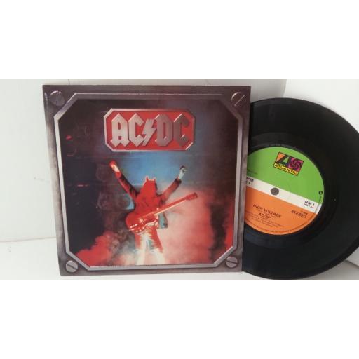 "ACDC high voltage live version, 7"" single, HM 1"