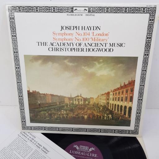 "Joseph Haydn / Academy Of Ancient Music, Christopher Hogwood – Symphony No. 104 ""London"", Symphony No. 100 ""Military"", 411 833-1, 12"" LP"