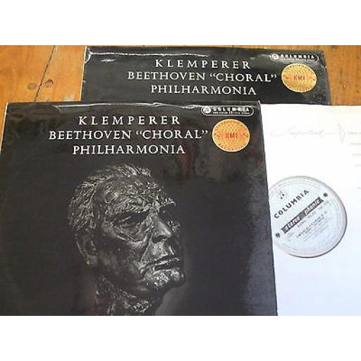 "KLEMPERER, BEETHOVEN, PHILHARMONIA, symphony no.9 ''choral'', 12"" LP SAX 2276, 2 RECORD SET"