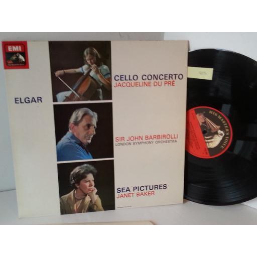 ELGAR. JACQUELINE DU PRE, LONDON ORCHESTRA, SIR JOHN BARBIROLLI, JANET BAKER cello concerto/ sea pictures, ASD 655