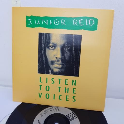 "JUNIOR REID, listen to the voices, B side showers of blessing, Bril 8, 7"" single"