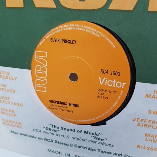 "ELVIS PRESLEY, suspicious minds, B side you'll think of me, RCA 1900, 7"" single"