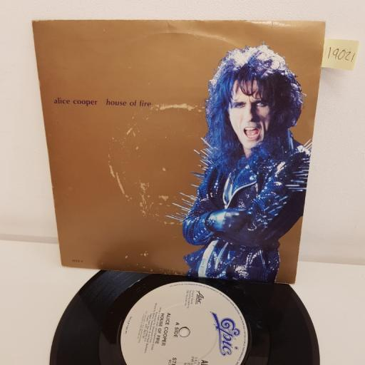 "ALICE COOPER, house of fire, B side this maniac's in love with you, ALICE 4, 7"" single"