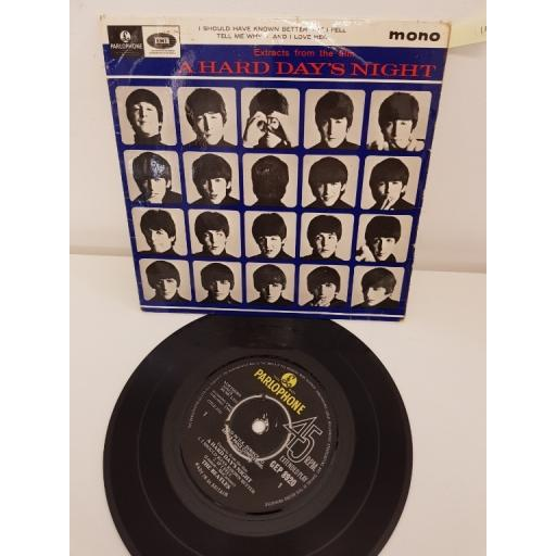 THE BEATLES extracts from the film A Hard Days Night, side A i should have known better, if i fell, side B tell me why, and i love her, GEP 8920, 7'' EP
