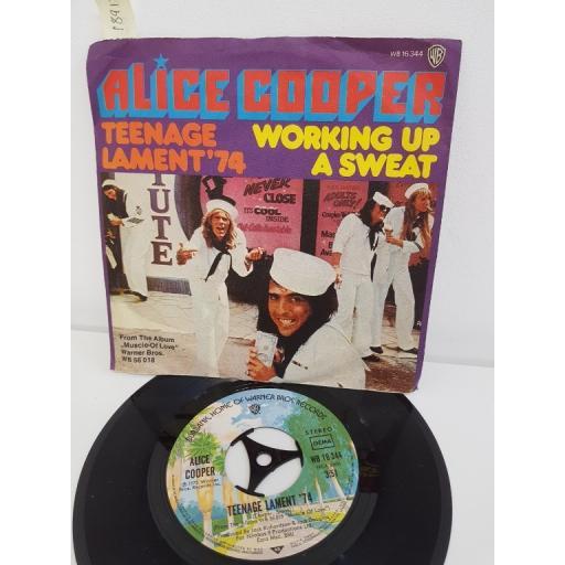 "ALICE COOPER, teenage lament '74, B side working up a sweat, WB 16344, 7"" single"