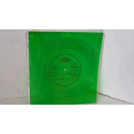 GILLAN / GARY MOORE / TELEPHONE purple sky / wishing well / squeeze, green 7 inch flexi disc