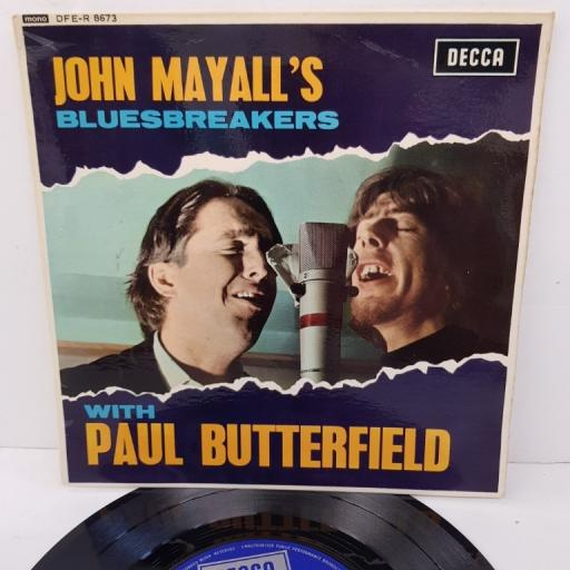 """JOHN MAYALL'S BLUESBREAKERS WITH PAUL BUTTERFIELD, all my life + riding on the l & n, B side little by little + eagle eye, DFE-R 8673, 7"""" EP, mono"""