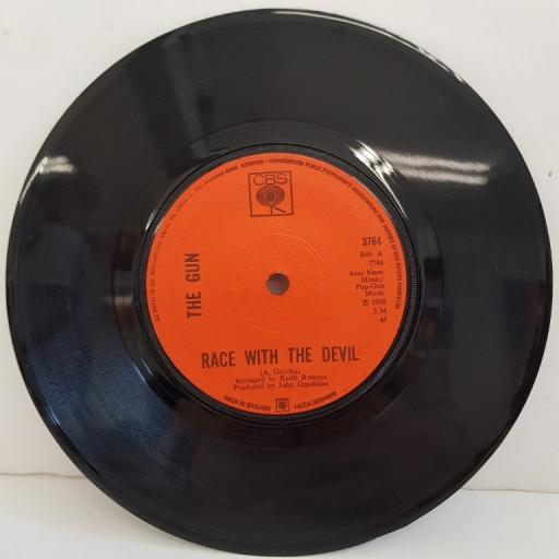 "THE GUN, race with the devil, B side sunshine, 3764, 7"" single"