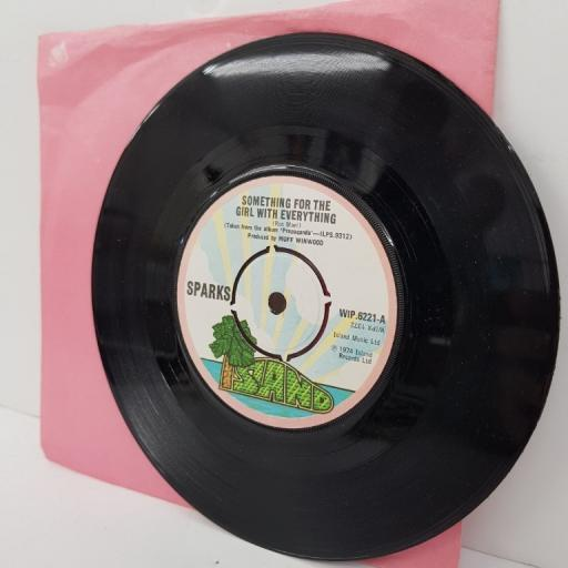 """SPARKS, something for the girl with everything, B side marry me, WIP.6221, 7"""" single"""