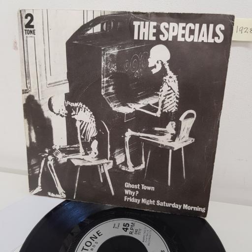 "THE SPECIALS, ghost town, B side why? and friday night saturday morning, CHS TT17, 7"" single"