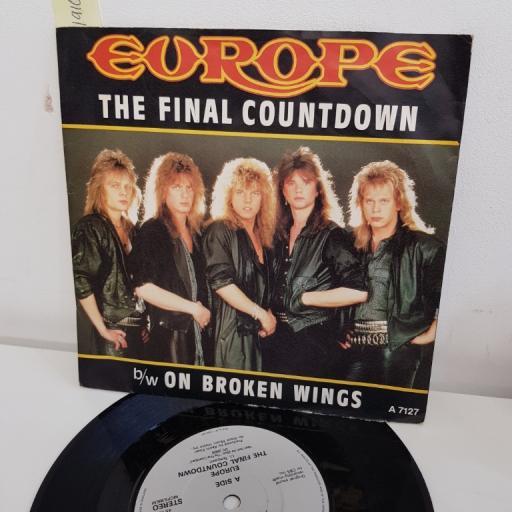 """EUROPE, the final countdown, B side on broken wings, A 7127, 7"""" single"""