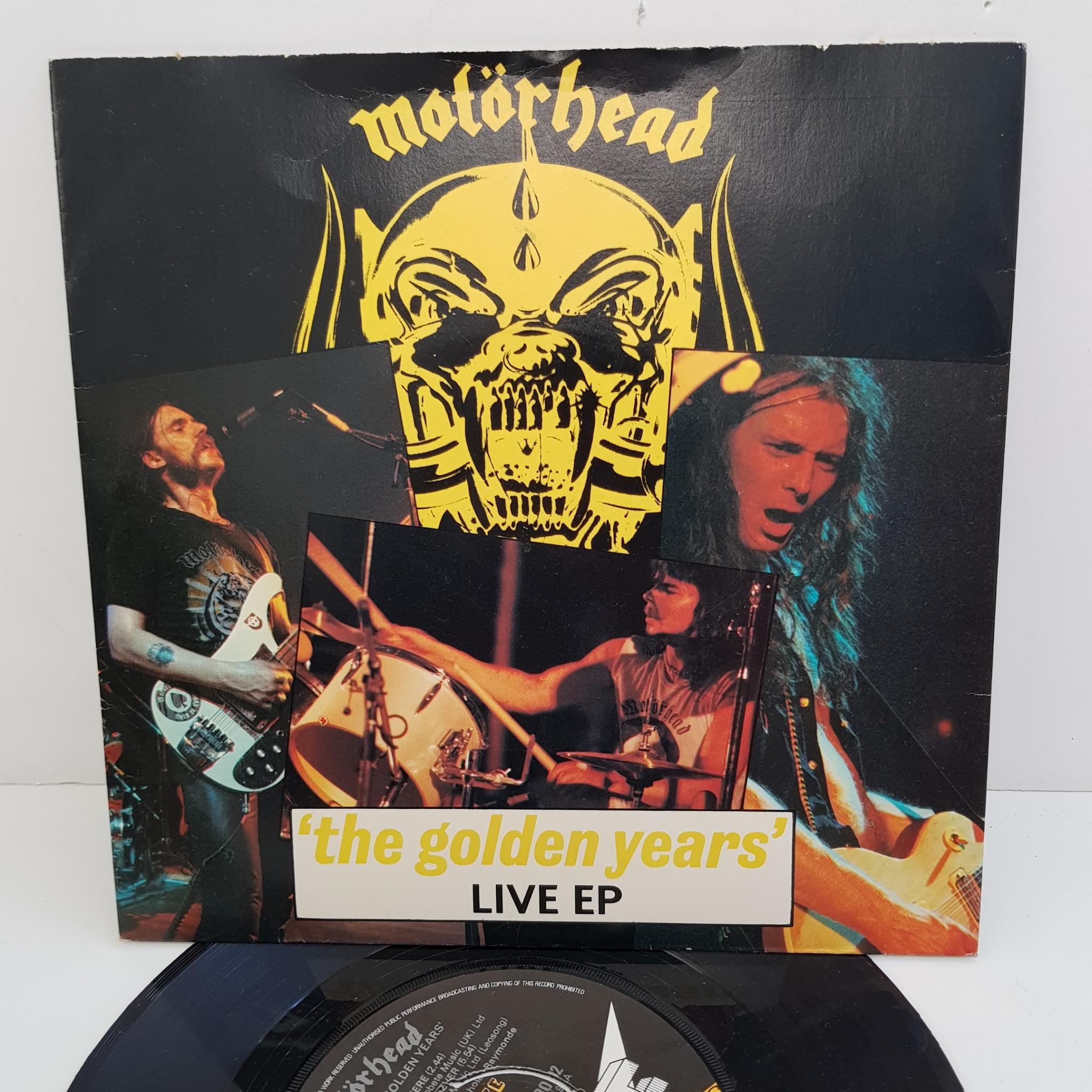 MOTORHEAD - 'The Golden Years' Live EP, 7 inch EP, 4 prong centre  BRO 92,  black/yellow label