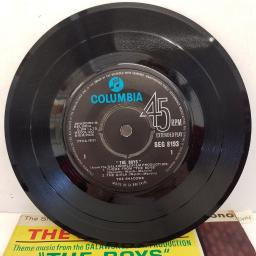 "THE SHADOWS - Theme Music From 'The Boys', 7""EP, SEG 8193, black label with Columbia in blue font"