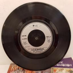 "KYLIE MINOGUE - The Locomotion, B side - I'll Still Be Loving You, 7"" single, PWL 14, silver label with black font"