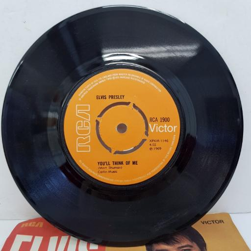 "ELVIS PRESLEY - Suspicious Minds, B side - You'll Think Of Me, 7""single, RCA 1900, 4 prong push out centre, orange label"