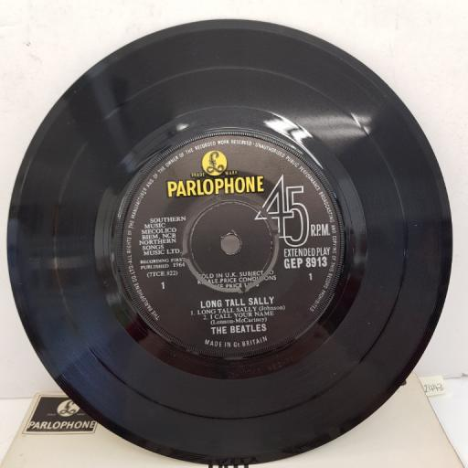 """THE BEATLES - Long Tall Sally, 7""""EP, MONO, GEP 8913, black label with Parlophone in yellow font"""