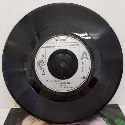 "RAINBOW - I Surrender, B side - Vielleicht Das Nächster Zeit (Maybe Next Time), 7""single, POSP 221, silver injection label with black font"