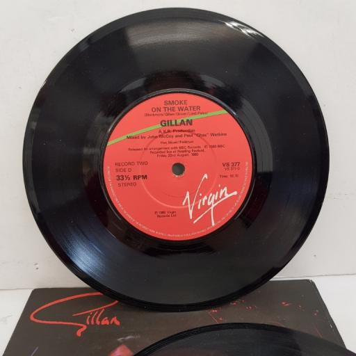 "GILLAN - Trouble/Your Sister's On My List/Mr Universe/Vengeance/Smoke On The Water, 2x7""single, VS 377, red/green label"