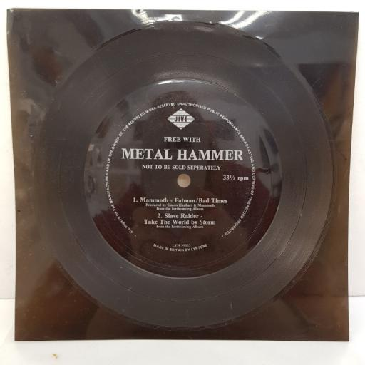 "MAMMOTH, SLAVE RAIDER - Fatman/Bad Times, A2 Take The World By Storm, 7"" single sided flexi-disc, LYN 19855"