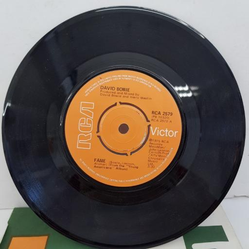 "DAVID BOWIE - Fame, B side - Right, 7""single, 4 prong centre. RCA 2579, orange label with black/white font"