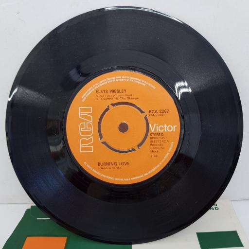 "ELVIS PRESLEY - Burning Love, B side - It's A Matter Of Time, 7""single, RCA 2267, knock out centre. Orange label with black and white font"