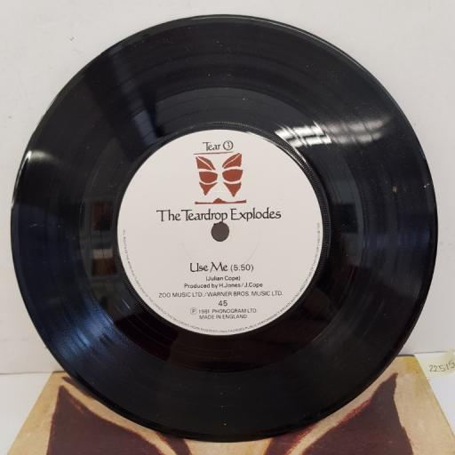 "THE TEARDROP EXPLODES - Treason (It's Just a Story) (Remix), B side - Use Me, TEAR 3, 7""single, white label with black font"