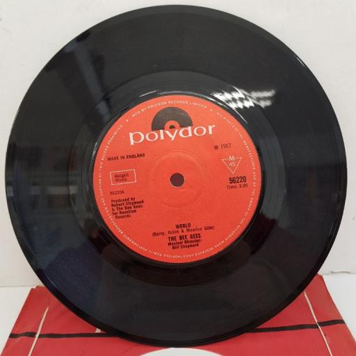 """THE BEE GEES - World, B side - Sir Geoffrey Saved The World, 7""""single, solid centre, 56220, red Polydor label"""