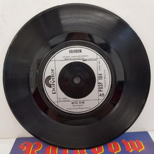 "RAINBOW - All Night Long, B side - Weiss Heim, 7""single, POSP 104, silver label with black font"
