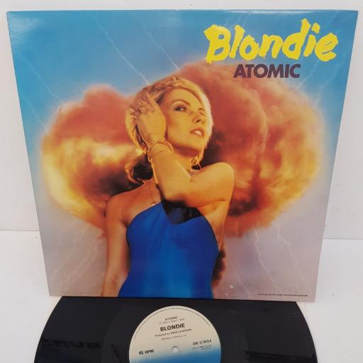 "BLONDIE - Atomic, 12"" single, limited edition. B side: Die Young Stay Pretty, Heroes. CHS 12 2410, blue CHRYSALIS label"