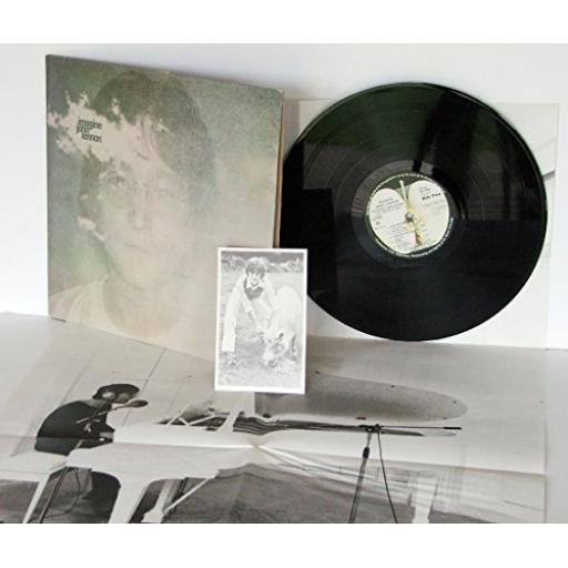 JOHN LENNON , imagine With inner lyric sleeve, pig card and poster