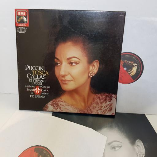 "Puccini, Callas, Di Stefano, Gobbi, La Scala Orchestra And Choirs, Victor De Sabata, TOSCA. DMM EX2900393 MONO. 12"" vinyl LP"