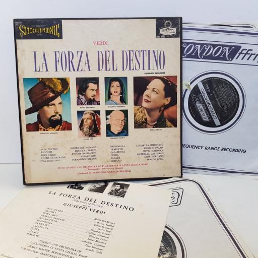 "Giuseppe Verdi – La Forza Del Destino Complete Recording, Label: London Records – OSA1405. 4 × Vinyl, LP, Album, Stereo UK. 12"" vinyl LP"